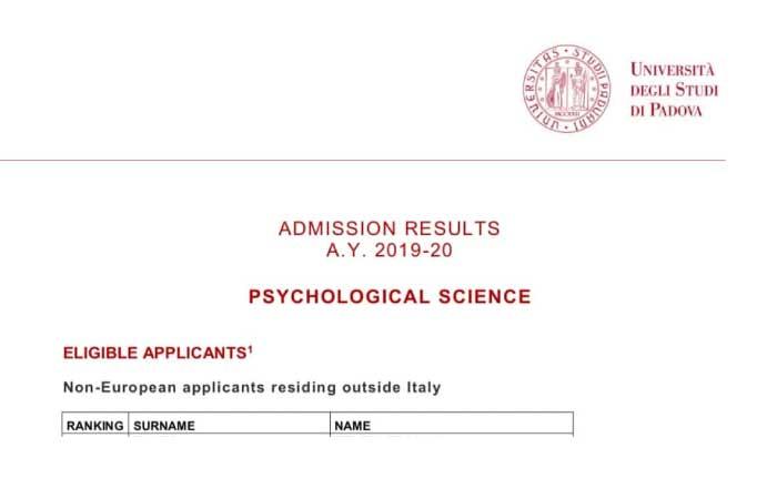 Padova Üniversitesi Psikoloji Bölümü Sonuçları