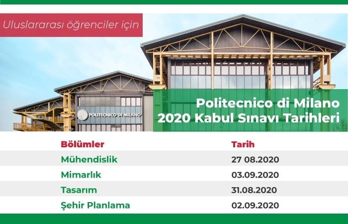 Politecnico di Milano Sınav Takvimi