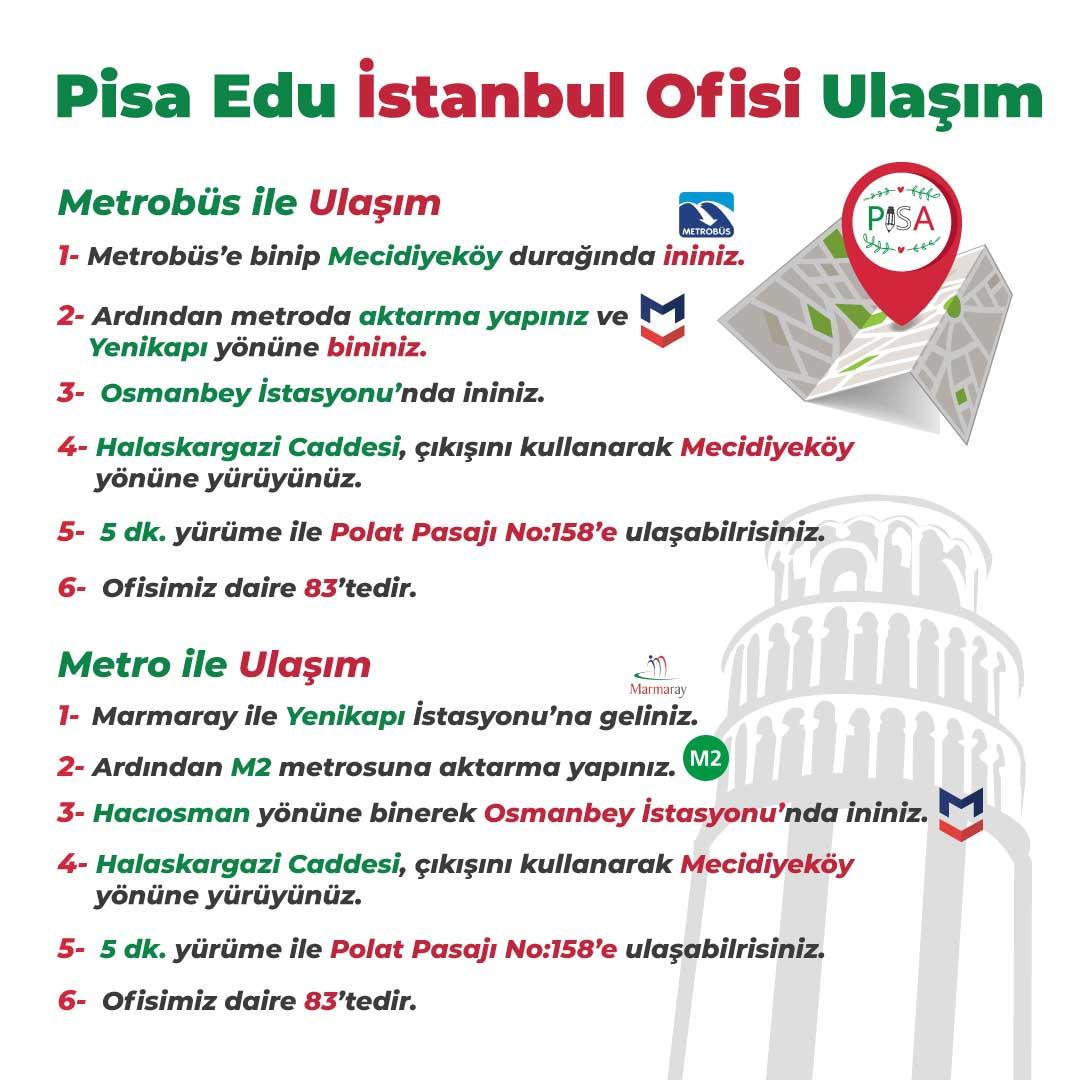 Pisa Edu İstanbul Ofisi Ulaşım